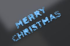 Liquid blue Merry Christmas words with drops on black background. Christmas sign. 3D rendering illustration Stock Photos