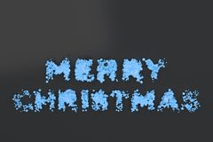 Liquid blue Merry Christmas words with drops on black background. Christmas sign. 3D rendering illustration Stock Image