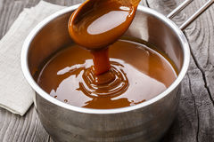 Liquid caramel is poured Royalty Free Stock Image