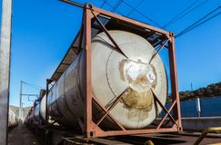 Liquid carrier wagon in a train station. royalty free stock image