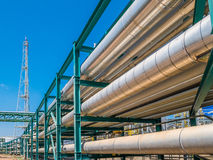 Liquid and chemical pipe line transfer Stock Photography