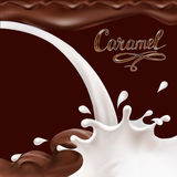 Liquid chocolate, caramel or cocoa illustration  vector letterin. G Royalty Free Stock Photos