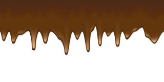 Liquid chocolate flowing down. White blank surface vector template. Hot choc horizontal seamless background with copy space Stock Photography