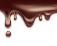 Liquid chocolate. Flowing liquid chocolate on white background Stock Photography