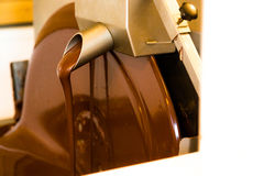 Liquid chocolate mixerl in chcolate factory Royalty Free Stock Photography