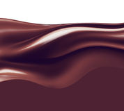 Liquid chocolate. Wave of liquid chocolate on white background Royalty Free Stock Photo