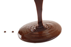 Liquid chocolate on a white background Stock Photos