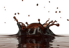 Liquid coffee splash close up. On white background. Clipping path included Stock Images