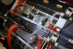 Liquid colling system of high performance workstation background Stock Image