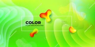 Liquid color background design. Green Fluid gradient shapes composition. Futuristic design posters. Eps10 vector. Liquid color background design. Green Fluid royalty free illustration