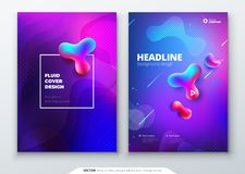 Liquid color cover set. Fluid shapes composition. Brochure design. Corporate business template for brochure, report vector illustration