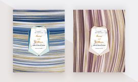 Liquid design cards with marble texture, polygonal frames. Blue, red with golden glitter ink painting background. Trendy templates stock photo