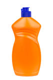 Liquid detergent in plastic orange bottle isolated on white Stock Photography