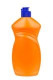 Liquid detergent in plastic orange bottle isolated on white Stock Photography