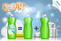 Free Liquid Dish Detergent Ad, Vector Realistic Illustration Stock Image - 140761071