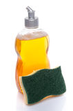Liquid dish soap with a sponge Stock Image