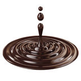 Liquid drop, black chocolate isolated on white background Royalty Free Stock Image