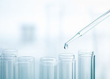 Liquid Drop From Pipette To Test Tube Royalty Free Stock Images