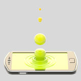 Liquid drop on the smartphone surface. Phone screen realistic three-dimensional image: green liquid drop on the smartphone surface isolated Stock Photography