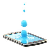 Liquid drop on the smartphone surface Royalty Free Stock Photo