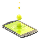 Liquid drop on the smartphone surface Stock Photos