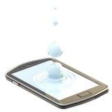 Liquid drop on the smartphone surface. Phone screen realistic three-dimensional image: liquid drop on the smartphone surface isolated Royalty Free Stock Photos
