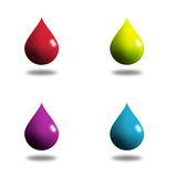 4 liquid drops. This is a digital drawing of 4 liquid cops in different colors Stock Photos
