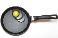 Liquid egg on a black frying pan Royalty Free Stock Photography
