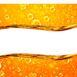 Liquid Flows Golden, Macro Air Bubbles Royalty Free Stock Photo