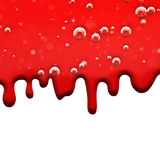 Liquid flows Red, Dripping Blood, Macro Air Bubbles Royalty Free Stock Images