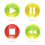 Liquid glossy player buttons. Buttons for mp3 player on web with cool liquid style Royalty Free Stock Photo