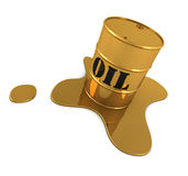 Liquid gold. A golden oil barrel with liquid gold around it Stock Photo