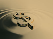 Liquid gold dollar. Realistic illustration of a dollar sign emerging from liquid gold Royalty Free Stock Photo