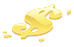 Liquid gold dollar symbol sign Royalty Free Stock Photography