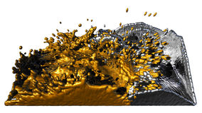 Liquid gold and silver splashing Royalty Free Stock Photo
