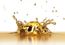 Liquid gold spash close up. Stock Photography
