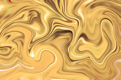 Liquid gold surface artwork with yellow paints. Precious metal flow imag. Marble abstract background digital illustration. Liquid gold surface artwork with Royalty Free Stock Photos
