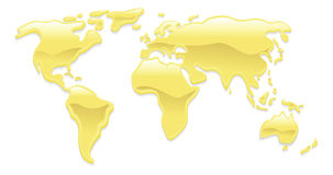 Liquid gold world map Royalty Free Stock Photos
