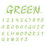 Liquid green alphabets and numbers collection. On white background Royalty Free Stock Images