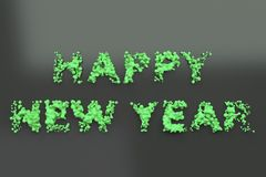 Liquid green Happy New Year words with drops on black background. New year sign. 3D rendering illustration Royalty Free Stock Images
