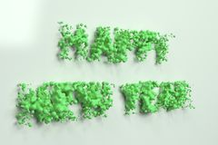 Liquid green Happy New Year words with drops on white background. New year sign. 3D rendering illustration royalty free illustration
