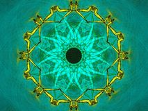 Liquid green mandala. Abstract fractal background created with apophysis Royalty Free Stock Photo