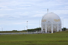 Liquid Hydrogen Storage Tank. Storage tank for liquid hydrogen fuel located just to the northeast of Kennedy Space Center's former shuttle launch pad 39-A. The Stock Photography