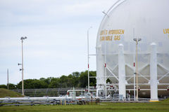 Liquid Hydrogen Storage Tank. Storage tank for liquid hydrogen fuel located just to the northeast of Kennedy Space Center's former shuttle launch pad 39-A. The royalty free stock images