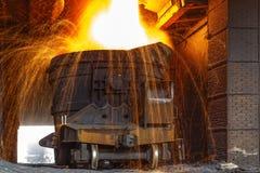 Liquid iron Stock Photo