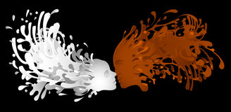 Liquid kiss of milk and coffee with facial features  woman. Liquid kiss of milk and coffee with facial features of woman and men. Vector illustration Royalty Free Stock Photography