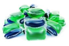 Liquid laundry detergent sachets Stock Images