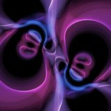 Abstract Blue and purple swirls on black background stock photos