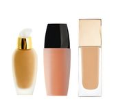 Liquid makeup foundation in bottle isolated on white Stock Photography