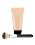 Liquid makeup foundation in tube and brush isolated on white Royalty Free Stock Photography